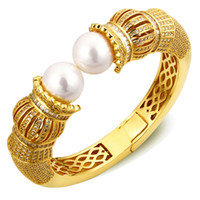 Wholesale 2014 New Chunky Women Dekuxe Pearl Bangles Arrival Fashion Ladies Bracelet Top Quality Cubic Zircon Setting18K Gold and Platinum Plated Lead