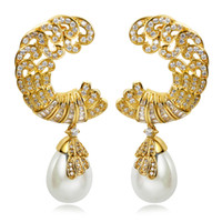 Wholesale Classic Design Women Luxury Synthetic Pearl Earrings AAA Quality Cubic Zircon Setting Allergy Free K Gold Platinum L Y06098