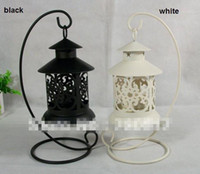 Wholesale 2014 New Metal Wrought Iron Pillar Holder Stand Black White Antique Design Table Decoration