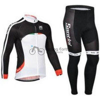 Wholesale 2014 santini men winter fleece cycling Jersey sets with long sleeve bike jacket bib pants in cycling clothing bicycle wear