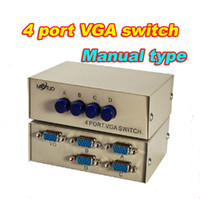 Wholesale Freeshipping MT C Port VGA Splitter Box PC to Monitor Out SVGA LCD Video Monitor Splitter Box for Laptop Computer TV