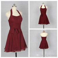 Cheap 2015 New Burgundy Short Bridesmaid Dress A Line Chiffon Hater Sleeveless Backless Zipper Ruffle Ruched Cheap Sash Formal Prom Dresses