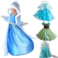 al por mayor trajes de princesa de halloween para bebés niña-2014 bebés calientes congelados Anna y Elsa partido coronación vestidos de princesa traje de halloween , Ropa niños otoño invierno