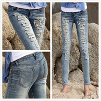 Wholesale High Quality Pencil Destroyed Skinny Jeans Women Torn Jeans Woman Brand Acid Wash Ripped Jeans Sexy Girl Z001