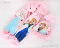 Wholesale christmas gifts Pink frozen scarf hat set frozen scarves cap Anna Elsa Children knit Accessories kids girl hats scarves sets set