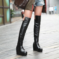 Wholesale Fall and Winter Knee High Boots New Arrive Shoes Woman High Heels Pu Leather Platform Wedges Boots for Women
