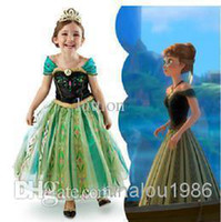 Wholesale lowest Frozen Movie princess elsa anna costume halloween cosplay birthday gift party Christmas dresses for kids gothic dress