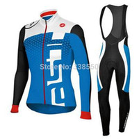 Wholesale 2014 men winter autumn thermal cycling Jersey kits with long sleeve bike top bib pants in cycling clothing bicycle wear