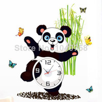 Wholesale Kawaii Panda Art Wall Clock Decal Home Decoration Wall Sticker Clock on the Wall Art for Bedroom Decorative Kids Clocks Wall Paper