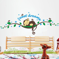 Wholesale Cartoon Sweet Dream Baby Monkey Wall Stickers Tree Decorative Wall Decal for Kids Rooms Home Decoration Nursery Birds Wall Art Poster