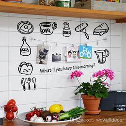 Wholesale Kitchen Wall Sticker Decal Coffee Breakfast Fridge Wall Tile Stickers for Kitchen Home Decor adesivo de parede