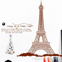 Wholesale Large Eiffel Tower Decoration Wall Stickers Home Decor Paris Poster Decorative Wall Decals Quotes Silhouette Wall Paper Art Photo Wallpaper