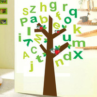 PVC apple tree nursery - Alphabet Characters A to Z Apple Tree Wall Stickers for Kids Nursery Room PVC Removable Decorative Wall Decals Home Decoration Wall Art