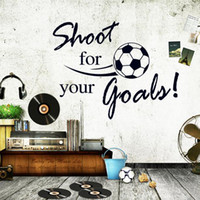 PVC wall quotes - Removable DIY World Cup Shoot Goals Soccer Wall Stickers Sports Home Decoration Football Wall Decal Art Kids Boys Room Quotes