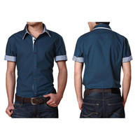 Wholesale S5Q Men Cotton Blouse Short Sleeve Casual Shirt Turn down Collar Slim Fitted Top AAADWW