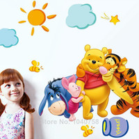Wholesale Removable PVC Cartoon Winnie the Pooh Wall Stickers for Kids Room Piglet Tigger Eeyore Wall Decal Art Anime Poster Home Decor WallPaper Kids