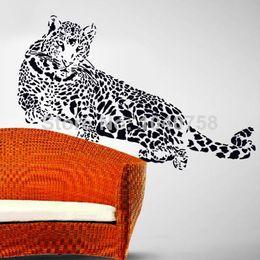 Аниме искусство для продажи-Большой черный ПВХ Leopard наклейки стены гостиной Аниме плакат Декоративные Наклейки на стены Домашнее украшение Стена искусства Catamount Дети Обои