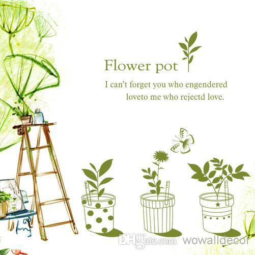 PVC Green Flower Pot Decorative Wall Decal Living Room Home Decoration Removable Art Stickers Quote Adhesive Quotes