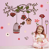 Wholesale Cartoon Love Birds and Nest Wall Stickers Home Decoration Removable Decorative Wall Decal for Kids Nursery Room Flower Wall Art