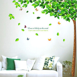 Large Removable PVC Green Tree Wall Stickers for living Room Butterfly Decorative Wall Decal Home Decoration Wall Art