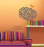 PVC kawaii stickers - Large Happy Birds on Kawaii Tree Branches and Leaves Wall Stickers for Kids Room More than Happy Quote Family Tree Wall Decals