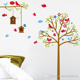 Birds and Nest Flower Tree Wall Stickers for Kids Baby Room Home Decoration Butterfly Cartoon Decorative Wall Decals PVC Wall Art