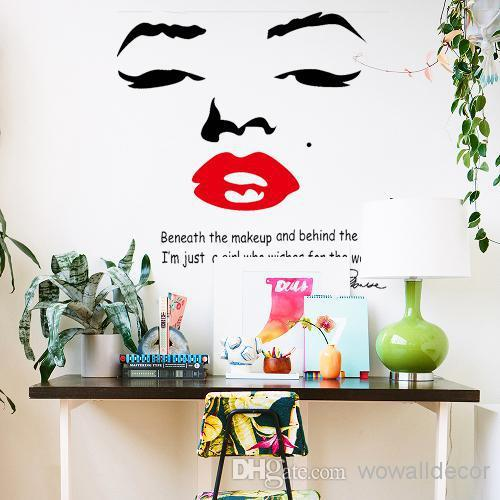 Large Marilyn Monroe Wall Decals For Girl Room Decorations PVC Wall Stickers  Quotes Home Decor Photo Wallpaper Wall Art Poster Marilyn Monroe Decoration  ...