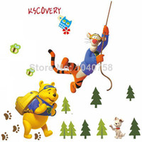 Wholesale Removable PVC Cartoon Winnie the Pooh Wall Stickers for Kids Rooms Decoration Tigger Wall Decal Art Anime Poster Wallpaper Kids