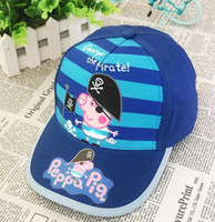 Wholesale Kids New Summer pig George Pig Hats Baseball Caps Girls Boys Hats Children Hat Baseball Caps