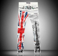 Wholesale Men s UK British Flag Painting Jeans Colored Drawing Print Jeans Pants For Men Male Skinny Thin Feet Stretch Pencil Long Trouser