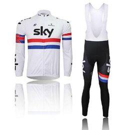 Wholesale Sky Team Bike Wear White Bike Jerseys Pinarello Long Sleeve Thin Summer Clothing Brace Trousers Ultra Breathale Wear