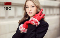 Wholesale Upscale Lady Mittens High Grade PU leather riding Windproof warm plush lining gloves winter genuine Rabbit Fur Gift e