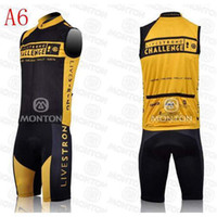 Wholesale 2014 new model livestrong cycling jerseys challenge yellow and black sleeveless bib cycling clothing good quality