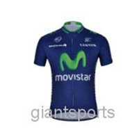 cycling jersey wholesale - 2014 new color dark blue bike short sleeve clothing team movistar cycling jersey outdoor sport wear good quality
