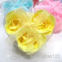 Wholesale Bath Body Heart Rose Petal Wedding Gift Christmas Gift Favor Colors Flower Soap boxes for Body Bath