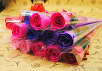 Wholesale Bath Body Rose Petal Soap Flowers Perfect As Wedding Gift or Gift for Lovers Favor Colors Flower Soap Rose Decorative Flowers