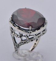Wholesale Large luxury garnet ring sterling silver restoring ancient ways is royal queen noble Athenian pomegranate red silver wedding rings