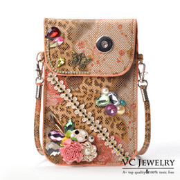 Wholesale Vocheng NOOSA New Arrival Mobile Phone Bag Pocket With Trend Jewelry Ginger Snap Buttons Jewelry for Girl Vbag