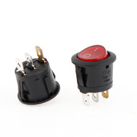 Wholesale Auto AC A V A V Pin ON OFF Red Light Rounded Rocker Switch x