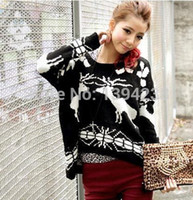 animal print - 2014New Design Free ShipCasual Fashion Women Long Join O Neck Black Animal Acrylic Fashion Autumn Knitted Pullovers Sweater Blouses WB022