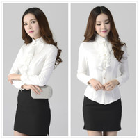 Wholesale New Fashion women clothing blouses shirt casual Ladies long sleeve Slim work wear business wear