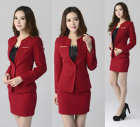 Wholesale 2014 New Autumn Winter Solid Button Ladies Office Fashion Wear Formal Busniess Suit Blazer Jacket With Black Skirt Sizes
