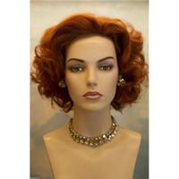 Cheap 130% Density High Quality Synthetic Hair Wig Deep Wave Short Hair 12inch Medium Brown Color Cheap Wig 143