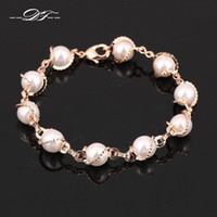 Wholesale Vintage Pearl Beads Chain Bracelets Bangles K Rose Gold Plated Fashion Brand Jewelry For Women DFH171
