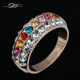 Free Shipping Luxurious Coloful Crystal Inlaid Fashon Ring Wholesale 18K Gold Plated Austrian Crystal Jewelry For Women DFR121