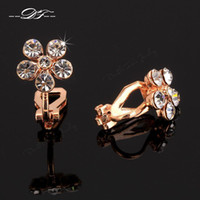 Wholesale 2015 New Elegant Austrian Crystal Vintage Party Clip Earrings K Rose Gold Plated Wedding Jewelry For Women DFE399