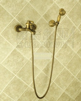 Wholesale NEW wall mount shower Faucet with tub filler antique brass finish sw