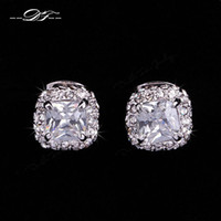 Women's genuine diamond earrings - DFE043 Classic CZ Diamond Vintage Stud Earrings Fashion Brand Jewelry Genuine Crystal For Women New brincos joias