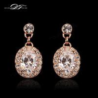 Wholesale Luxury Austrilian Crystal Party Wedding Stud Earrings K Gold Plated Fashion Brand Jewelry Jewellery For Women DFE126