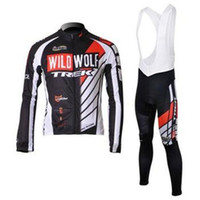 Wholesale WOLD WOLF men cycling Jersey sets in winter autumn fall with long sleeve bike top bib pants in cycling clothing bicycle wear